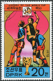 Postage stamp printed in North Korea, dedicated to World Cup Football, shows the FIFA World Cup in Italy 1934 — Foto de Stock