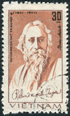 Postage stamp printed in Vietnam shows Rabindranath Tagore, Indian poet — Stock Photo