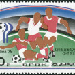 Postage stamp printed in North Korea, dedicated to World Cup Football, Argentina '78, shows Football game scenes - Defense — Stock Photo