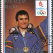 Постер, плакат: Postage stamp printed in Paraguay devoted Winter Olympic Games in Albertville shown medalist Winter Olympic Games in Calgary Franck Piccard
