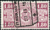 Railway Stamp printed in Belgium shows Coat of Arms, Value in Rectangle, First Issue — Stock Photo