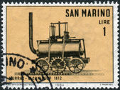 Postage stamp printed in San Marino shows, Cog-wheel Locomotive Murray-Blenkinsop (1812) — Stock Photo