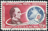 Postage stamp printed in the United States, dedicated to the 100th anniversary of the first international postal conference in Paris, shows a portrait of Montgomery Blair and Globe — Foto Stock