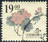 Postage stamp printed in Taiwan shows, wood carving Ming dynasty, peony flower — Stock Photo