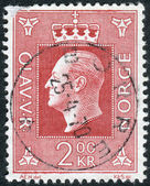 Postage stamp printed in Norway, shows King Olav V — Stock Photo