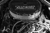 Detail of engine Ford Mustang closeup, black and white — Stock Photo