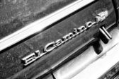 """PAAREN IM GLIEN, GERMANY - MAY 19: Emblem Chevrolet El Camino, 1975 (black and white), """"The oldtimer show"""" in MAFZ, May 19, 2013 in Paaren im Glien, Germany — Stock Photo"""