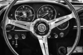 Cab Luxury car Alfa Romeo 2600 Spider, black and white — Stock Photo