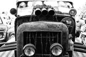 Quemaron coches hot rod, blanco y negro — Foto de Stock