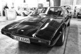 Sport coupe Ferrari Dino 208 GT4, black and white — Stock Photo