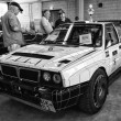 Sports car Lancia Delta HF Integrale 8V, black and white — Stock Photo