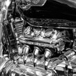 Постер, плакат: Japanese motorcycle engine Honda Valkyrie close up black and white