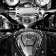 Постер, плакат: The dashboard and a fragment of petrol tank motorcycle Honda Valkyrie black and white