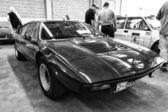 Sport coupe Ferrari Dino 208 GT4, black and white — Stock Photo