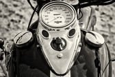 The dashboard and fuel tank motorcycle Harley Davidson, black and white — Stock Photo