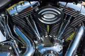 Detail of the motorcycle Harley-Davidson, black and white — Foto de Stock