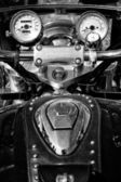 The dashboard and a fragment of petrol tank motorcycle Honda Valkyrie, black and white — Stock Photo