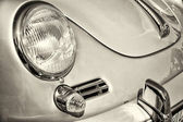 Detail of the front of the sports car Porsche 356, black and white — Stock Photo