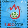 Postage stamp printed in Austria, devoted to Uefa Euro 2008, shows emblem — Stock Photo #42990727