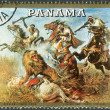 Postage stamp printed in Panama, shows Hunting on Horseback, by Rudolf Koller — Stock Photo #42990921