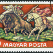 Postage stamp printed in Hungary shows hunting bison — Stock Photo