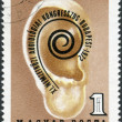 Postage stamp printed in Hungary, is dedicated to 11th International Audiology Congress, Budapest, shows, ear and Congress emblem — Stock Photo