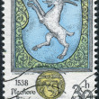 Postage stamp printed in Czechoslovakia, coat of arms of Vlachovo Brezi — Stock Photo