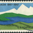 Postage stamp printed in USA, dedicated to Centenary of Canada's emergence as a nation, shows Canadian Landscapes — Stock Photo