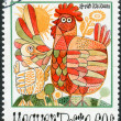 "Postage stamp printed in Hungary, is dedicated to International Year of Children, shows children's drawing, ""The ugly duckling"" — Stock Photo #42992407"