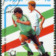 Postage stamp printed in Cuba, devoted to World Cup Football Italy 90, shows football players — Stock Photo