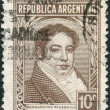 Постер, плакат: A stamp printed in the Argentina depicts the first president of Argentina Bernardino Rivadavia