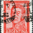 A stamp printed in the Argentina, shows a national hero, Jose de San Martin — Stock Photo