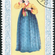 Postage stamp printed in North Korea, shows autumn national dress of Li Dynasty — Stock Photo