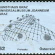 Postage stamp printed in Austria, shows the Kunsthaus Graz Universalmuseum Joanneum — Stock Photo