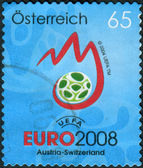 Postage stamp printed in Austria, devoted to Uefa Euro 2008, shows emblem — Stok fotoğraf