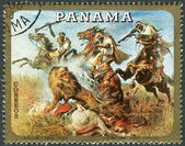 Postage stamp printed in Panama, shows Hunting on Horseback, by Rudolf Koller — Stock Photo