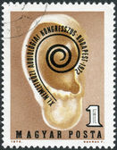 Postage stamp printed in Hungary, is dedicated to 11th International Audiology Congress, Budapest, shows, ear and Congress emblem — Stock fotografie