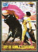 A stamp printed in the Equatorial Guinea, shows the Corrida — Stock Photo