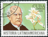Postage stamp printed in Cuba, shows the Argentine writer and 7th President of Argentina, Domingo Faustino Sarmiento and orchid Govenia utriculata — Stock Photo