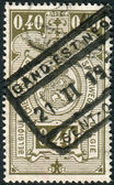 Railway Stamp printed in Belgium, shows Coat of Arms, Value in Rectangle, First Issue — Stock Photo