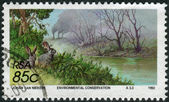 Postage stamp printed in South Africa, devoted to Environmental Protection, shows air pollution — Stock Photo
