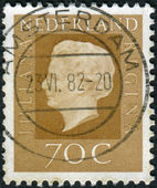 Postage stamp printed in the Netherlands, shows Queen Juliana — Stock Photo