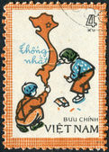 Postage stamp printed in Vietnam, shows Children drawing map of unified Vietnam — Stock Photo