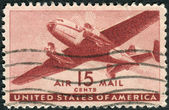 Postage stamp printed in USA, shows Twin-motored Transport Plane — Stock Photo