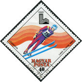 Postage stamp printed in Hungary, is devoted 13th Winter Olympic Games, Lake Placid, 1980, shows ski jumping — Stock Photo
