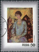 Postage stamp printed in Poland, shows Woman with book, by Tytus Czyzewski (1885-1945) — Stock Photo