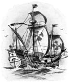 Caravel of Christopher Columbus, in 1492 — Stock Photo