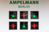 Ampelmaennchen (little traffic light man) is the famous symbol shown on pedestrian signals in the former German Democratic Republic, now a part of Germany. — Stock Photo