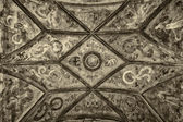 Prague. Ceiling frescoes bridge watchtower Charles Bridge. Stylized film. Sepia. Large grains — Stock Photo