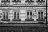 The streets of old Prague. Gift shop. Stylized film. Large grains. Black and white. — Stock Photo